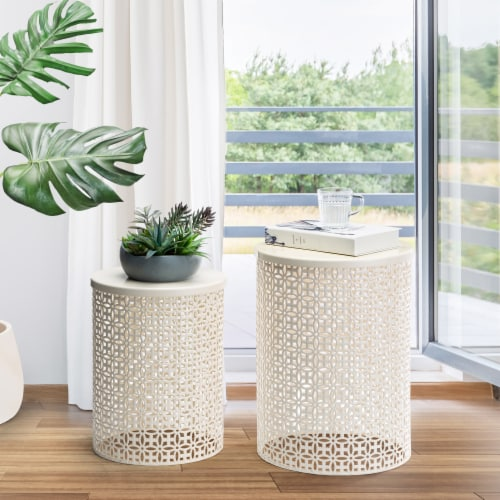 Glitzhome Metal Garden Stool Plant Stand - Cream White Perspective: back