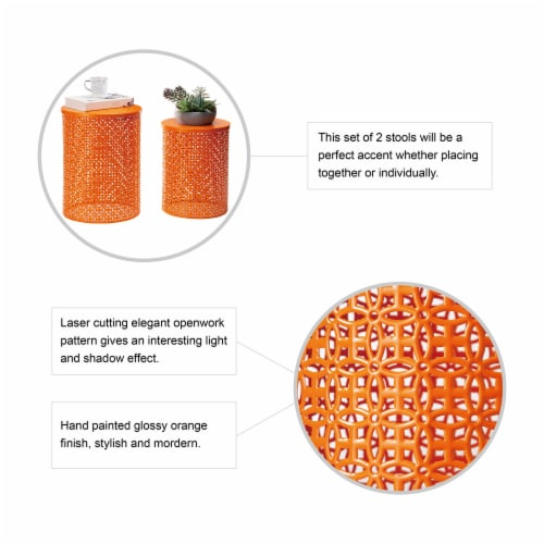 Glitzhome Metal Multi-Functional Garden Stool Plant Stands - Orange Perspective: back