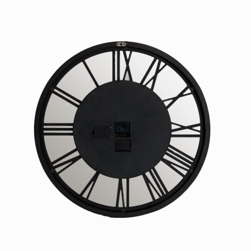 Glitzhome Industrial Wooden/Metal Round Gear Wall Clock Perspective: back