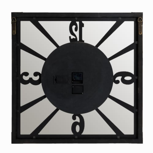 Glitzhome Industrial Wooden/Metal Square Gear Wall Clock Perspective: back