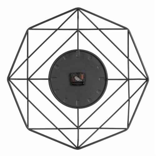 Glitzhome Modern Metal Wall Clock - Black/Golden Perspective: back