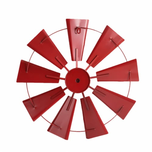 Glitzhome Vintage Metal Wind Spinner Wall Decoration - Red Perspective: back