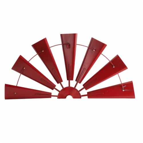Glitzhome Vintage Farmhouse Half Wind Spinner Wall Decoration - Red Perspective: back