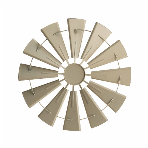 Glitzhome Farmhouse Vintage Metal Wind Spinner Wall Decor - Beige Perspective: back