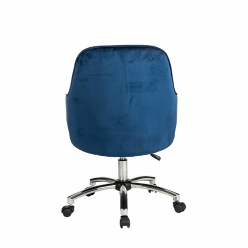 Glitzhome Velvet Gaslift Adjustable Swivel Office Chair - Navy Blue Perspective: back
