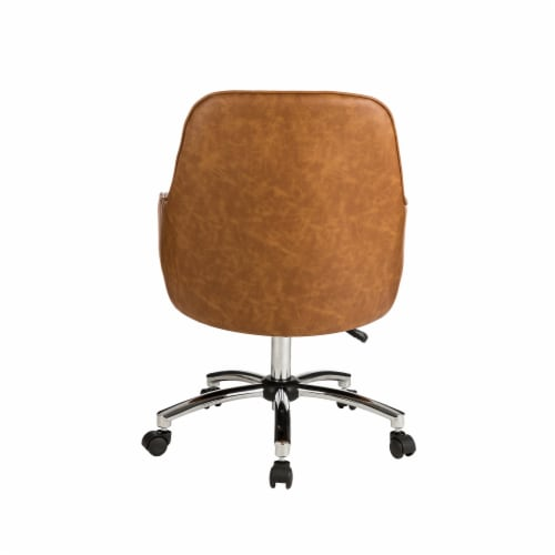 Glitzhome Bonded Leather Gaslift Adjustable Swivel Desk Chair - Caramel Perspective: back