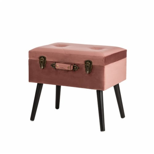 Glitzhome Velvet & Wooden Upholstered Storage Stool - Pink Clay Perspective: back