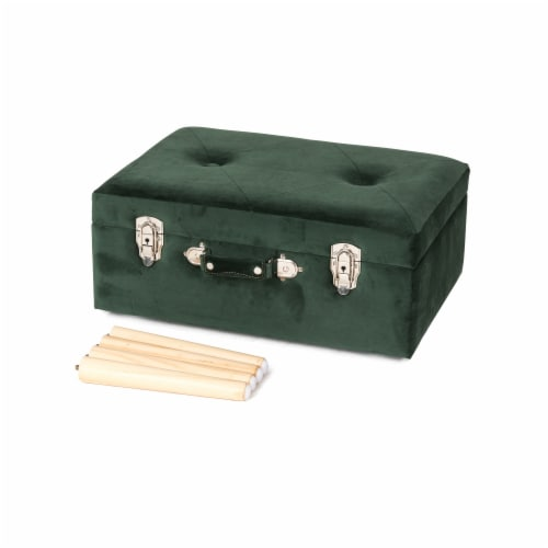 Glitzhome Velvet & Wooden Upholstered Storage Stool - Hunter Green Perspective: back
