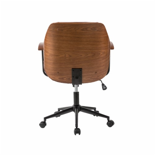 Glitzhome Russet Leatherette Adjustable Swivel Desk Chair - Coffee Perspective: back
