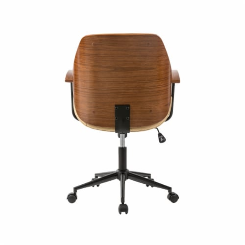 Glitzhome Leatherette Adjustable Swivel Desk Chair - Cream Perspective: back