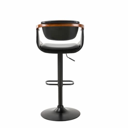Glitzhome Leatherette Adjustable Swivel Bar Stool Perspective: back