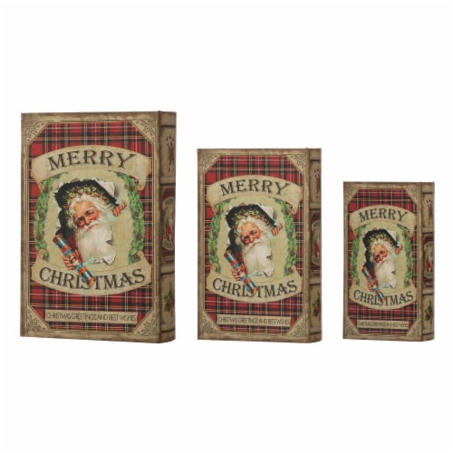 Glitzhome Decorative Wooden Christmas Santa's Book Box Storage Box Perspective: back