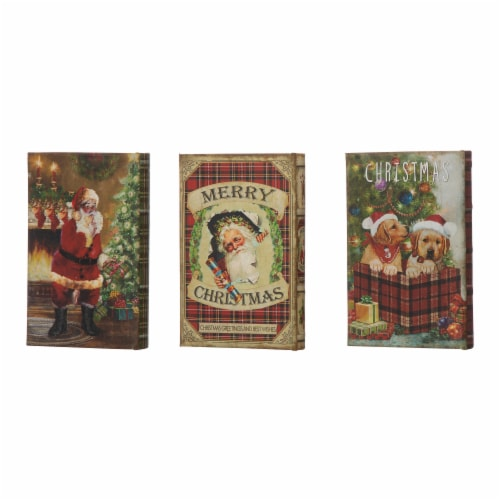 Glitzhome Decorative Wooden Christmas Book Boxes Perspective: back