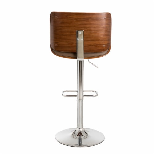 Glitzhome Adjustable Height Swivel Bar Stool - Brown Perspective: back