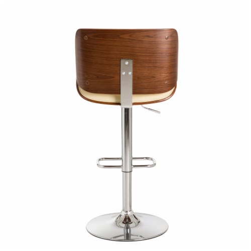 Glitzhome Adjustable Height Swivel Bar Stool - Cream Perspective: back