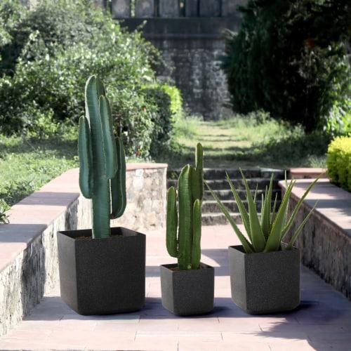 Glitzhome Oversized Faux Marble Square Plastic Planter -  Black Perspective: back