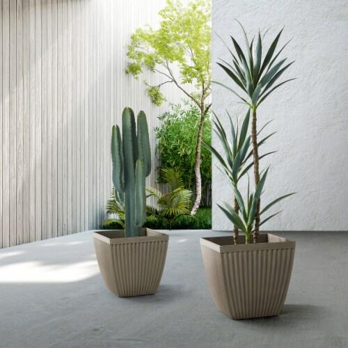Glitzhome Faux Concrete Square Plastic Fluted Pot Planter Perspective: back