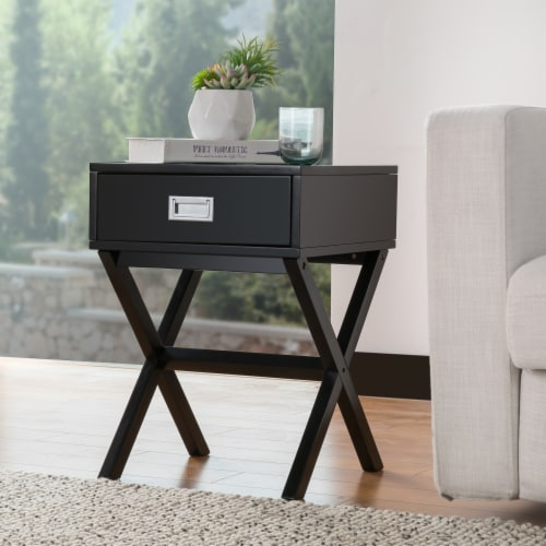 Glitzhome Modern Wooden X-Leg End Table - Black Perspective: back