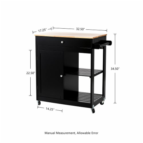 Glitzhome Basic Wooden Kitchen Island - Black Perspective: back
