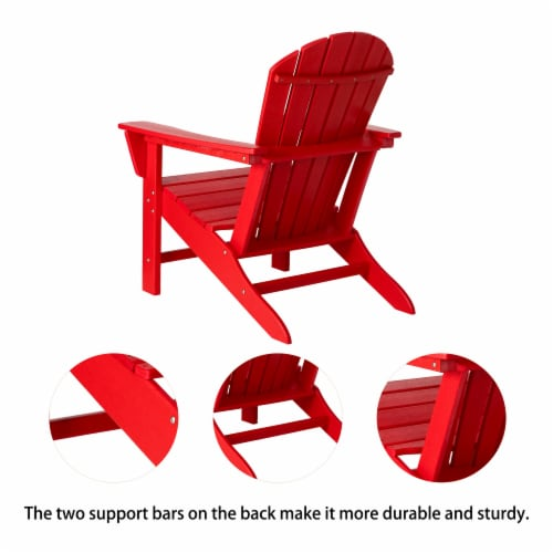 Glitzhome All-Weather Adirondack Chair -  Red Perspective: back