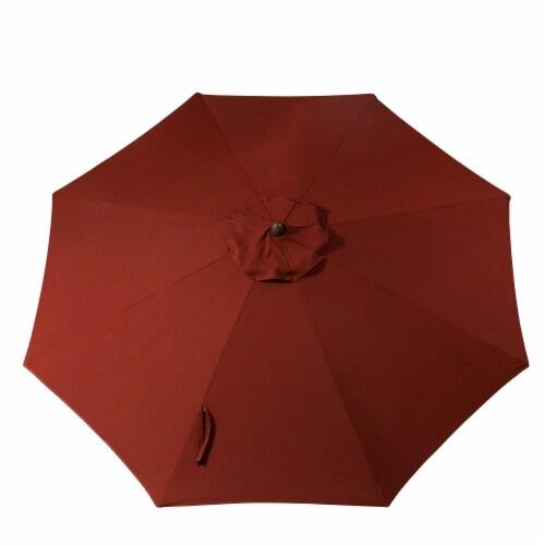 Glitzhome Aluminium Self Tilt Market Patio Umbrella - Wine Red Perspective: back
