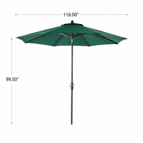 Glitzhome Aluminium Self Tilt Market Patio Umbrella - Dark Green Perspective: back