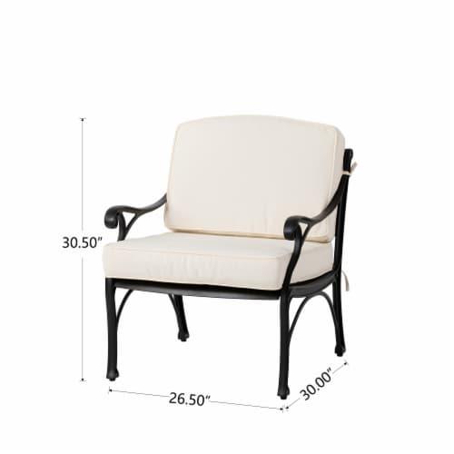 Glitzhome Cast  Aluminium Patio Sofa Chair with Cushion - Beige / Black Perspective: back