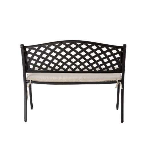 Glitzhome Aluminium Patio Garden Bench with Beige Cushion Perspective: back