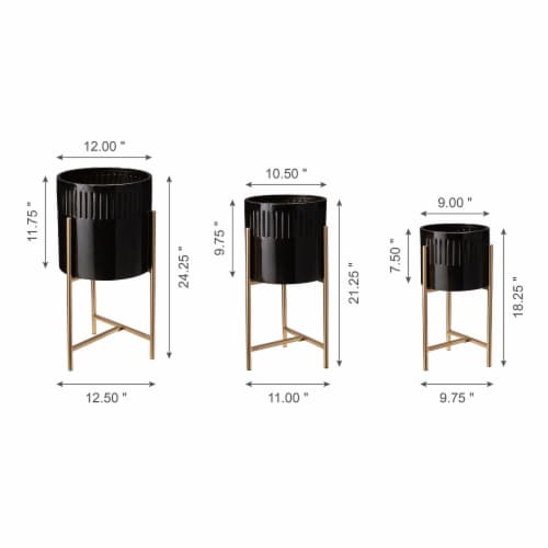 Glitzhome Modern Glossy Metal Plant Stands - Black/Gold Perspective: back