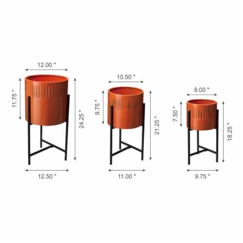 Glitzhome Modern Metal Plant Stands - Black/Orange Perspective: back