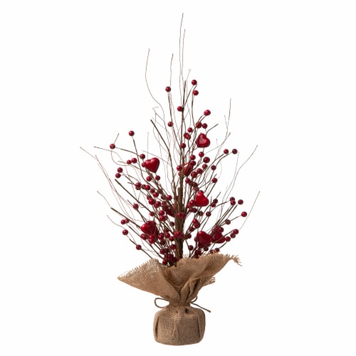 Glitzhome Valentine's Berry Heart Table Tree Decoration Perspective: back