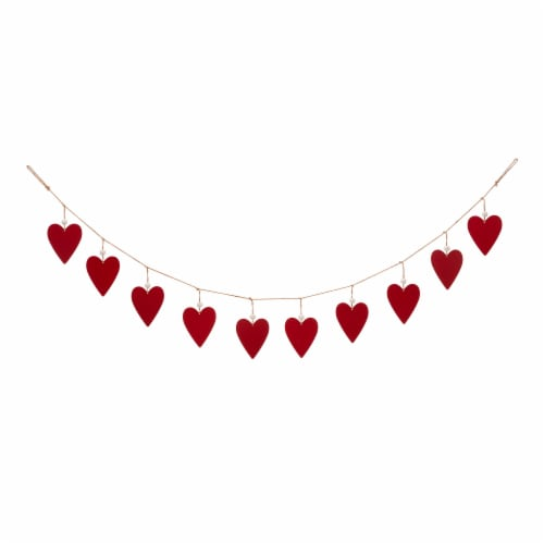 Glitzhome Valentine's Day Wooden and Metal Heart Garland Perspective: back