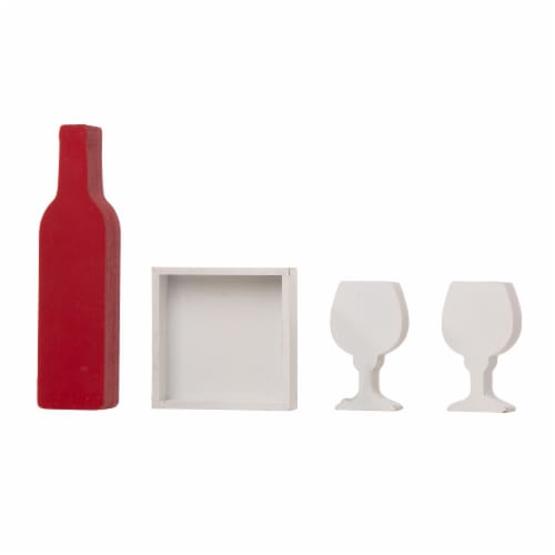 Glitzhome Valentine's Day Wooden Wine and Cup Table Decoration Perspective: back