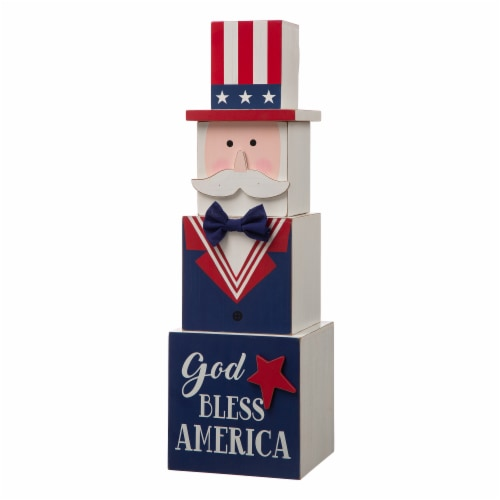 Glitzhome Doubled Sided Easter and July Fourth Wooden Porch Box Decor Perspective: back