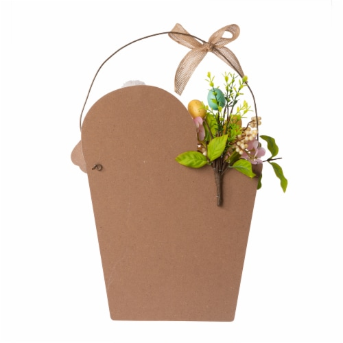 Glitzhome Wooden Easter Bunny Eggs and Bucket Hanging Wall Decor Perspective: back
