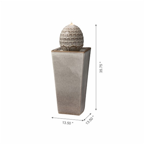 Glitzhome Ceramic Sphere Pedastal Outdoor Fountain - Ivory Perspective: back