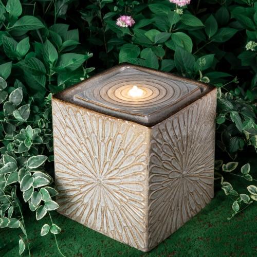 Glitzhome Ceramic Square Pot Outdoor Fountain Perspective: back