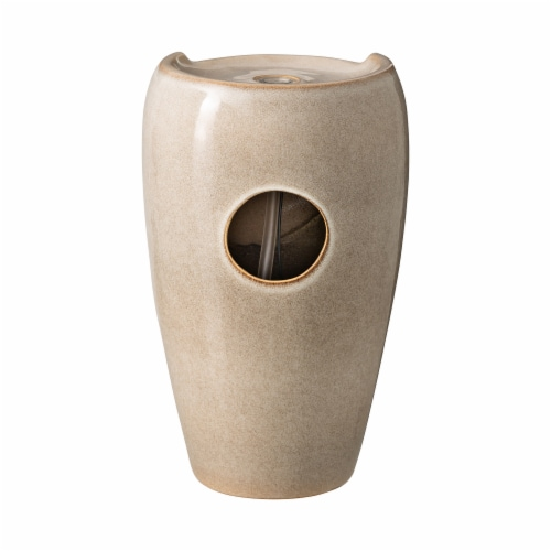 Glitzhome Ceramic Outdoor Fountain - Ivory Perspective: back