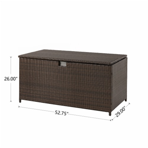 Glitzhome Outdoor Patio Garden Wicker Storage Deck Box - Brown Perspective: back