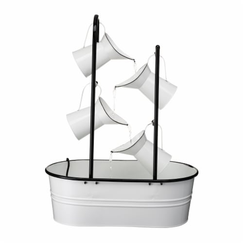Glitzhome 4-Tiered Enamel Metal Pitchers Fountain - White Perspective: back