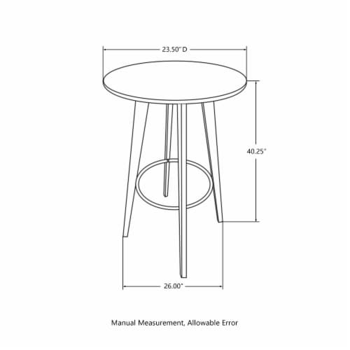 Glitzhome Midcentury Modern Round Natural Bamboo Bar Table Perspective: back