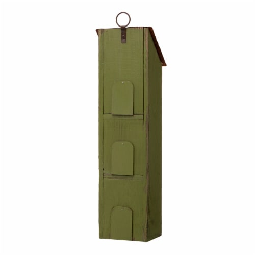 Glitzhome Window-Blinds Distressed Solid Wood Birdhouse - Green Perspective: back