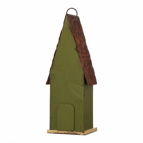 Glitzhome Hanging Distressed Wooden Garden Birdhouse - Green Perspective: back