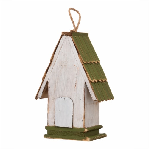 Glitzhome Hanging Wooden Green Roof Decorative Garden Birdhouse Perspective: back
