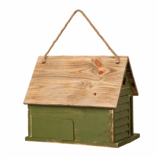 Glitzhome Hanging Wooden Distressed Garden Birdhouse - Green Perspective: back