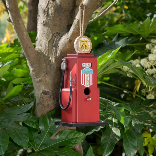 Glitzhome Hanging Wood Gas Pump Birdhouse - Red Perspective: back