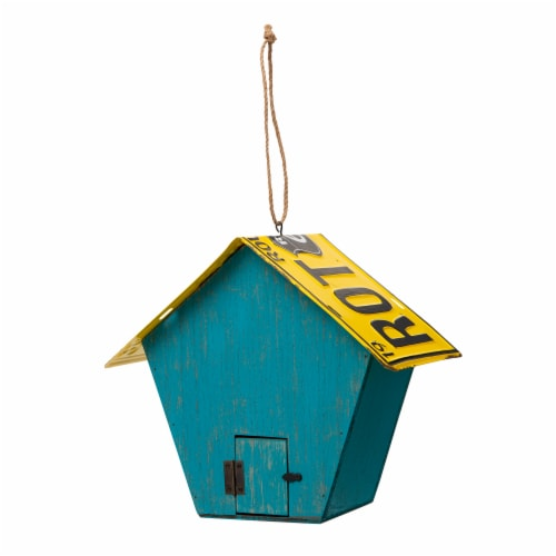Glitzhome Wooden and Metal License Plate Birdhouse - Blue/Yellow Perspective: back