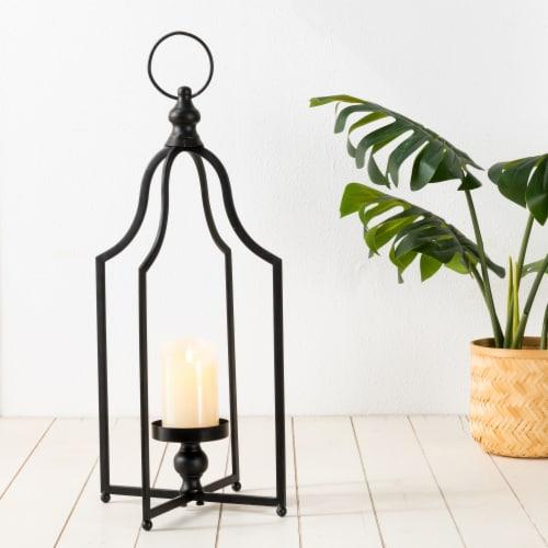 Glitzhome Modern Farmhouse Metal Decorative Lantern - Black Perspective: back