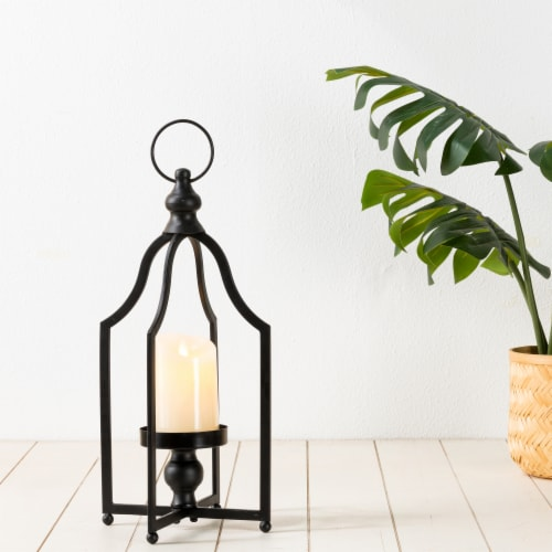 Glitzhome Modern Farmhouse Metal Decorative Lantern - Black Perspective: back