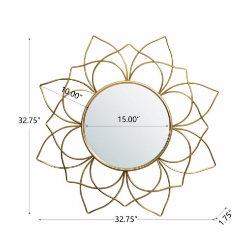 Glitzhome Oversized Modern Glam Lotus Wall Mirror - Gold Perspective: back